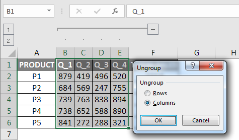 Ungrouping Columns in Excel dialogue box
