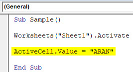VBA Active Cell Example 1-6
