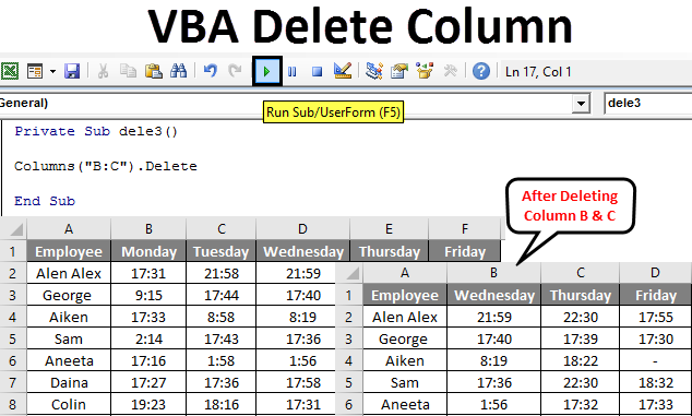 VBA Delete Column
