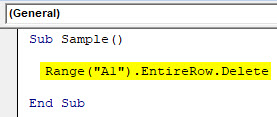 VBA Delete Row Example 1-4