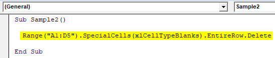 VBA Delete Row Example 3-3