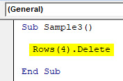 VBA Delete Row Example 4-3