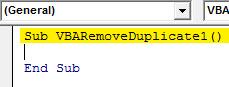 VBA Duplicates example 1.1