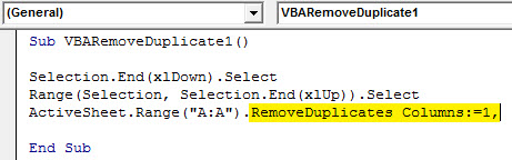 VBA Duplicates example 1.5