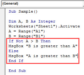 VBA IF NOT Example 1.6