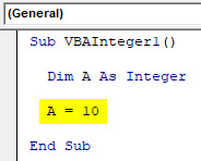 VBA Integer Example 1-5