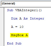 VBA Integer Example 1-6