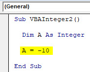 VBA Integer Example 2-4