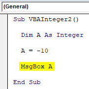 VBA Integer Example 2-5