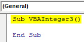 VBA Integer Example 3-1
