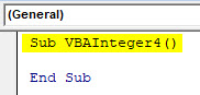 VBA Integer Example 4-1