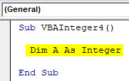 VBA Integer Example 4-2