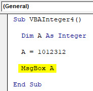 VBA Integer Example 4-4