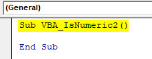 VBA IsNumeric Example 2-1