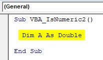 VBA IsNumeric Example 2-2