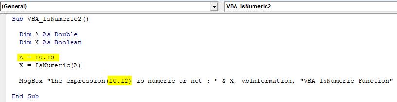 VBA IsNumeric Example 2-8