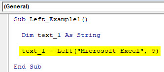 VBA Left Example 1-3