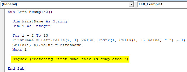 VBA Left Example 2-4