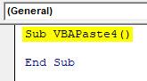 VBA Paste Example 4-1