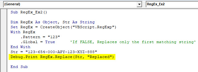 VBA RegEx Example 2-7