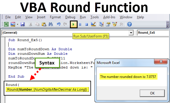 VBA Round Function in Excel
