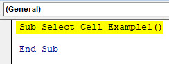 VBA Select Cell Example 1-3