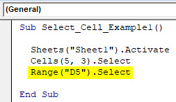 VBA Select Cell Example 1-5