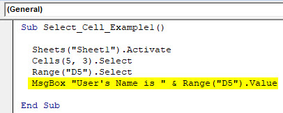 VBA Select Cell Example 1-6