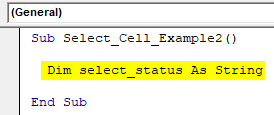 VBA Select Cell Example 2-2