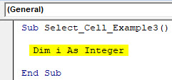 VBA Select Cell Example 3-2