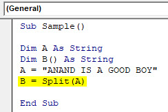 VBA Split Example 1-6