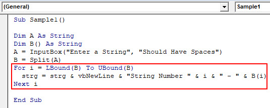 VBA Split Example 2-6