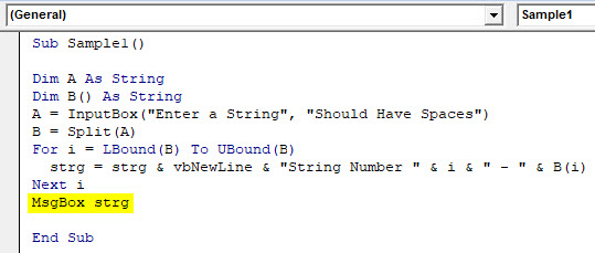 VBA Split Example 2-7