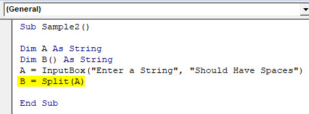 VBA Split Example 3-5