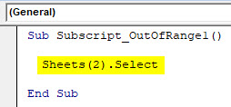VBA Subscript out of Range Example 1-4