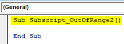 VBA Subscript out of Range Example 2-1