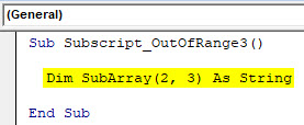 VBA Subscript out of Range Example 3-2