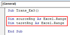 VBA Transpose Example 3-3