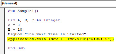 VBA Wait Example 2-5