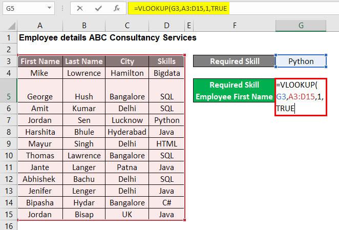 VLOOKUP Tutorial in Excel Example 1-5