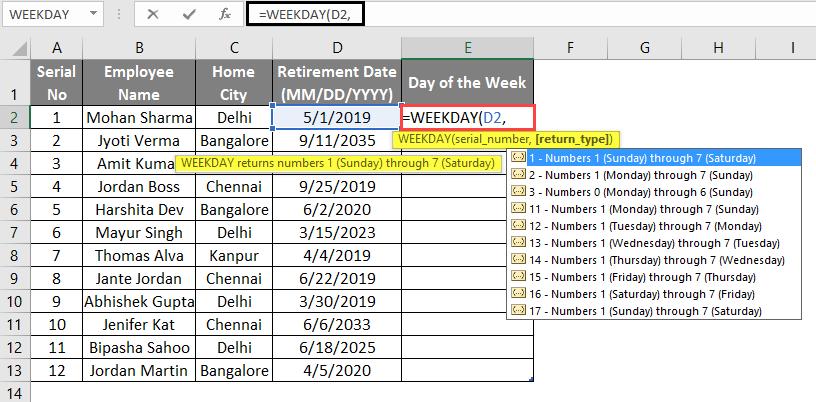 WEEKDAY Formula example 2-4