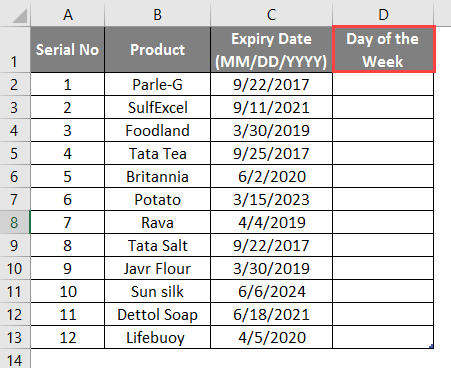 WEEKDAY Formula in excel example 1-2