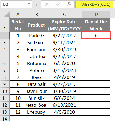 WEEKDAY Formula in excel example 1-6