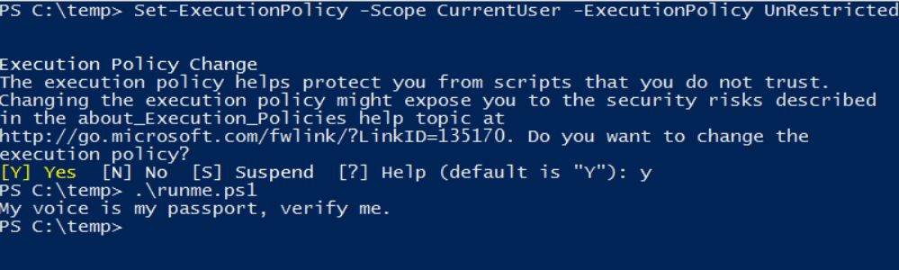 cself-execution policy(PowerShell Commands)