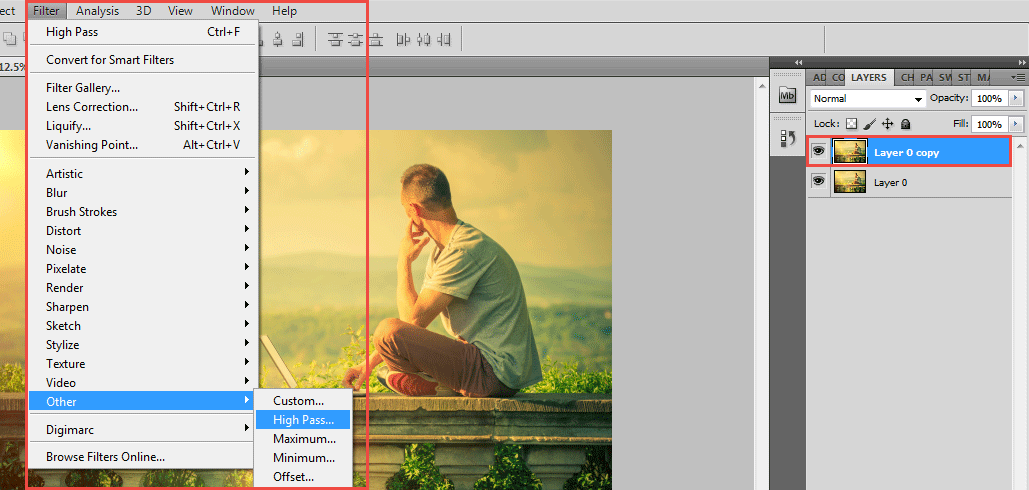 sharpen tool in photoshop (high pass sharpness)