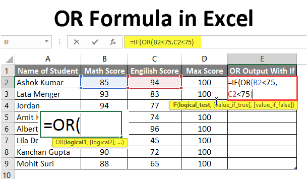 or formula in excel