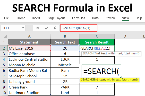 search formula in excel