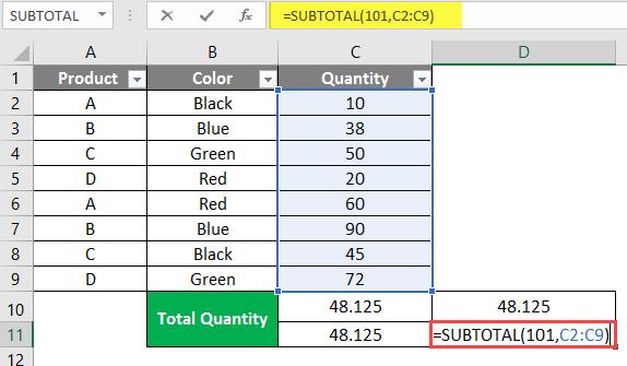 subtotal example 2-3