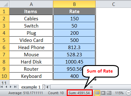 Excel example 1-2
