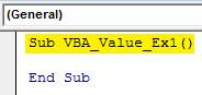 vba value Example 1